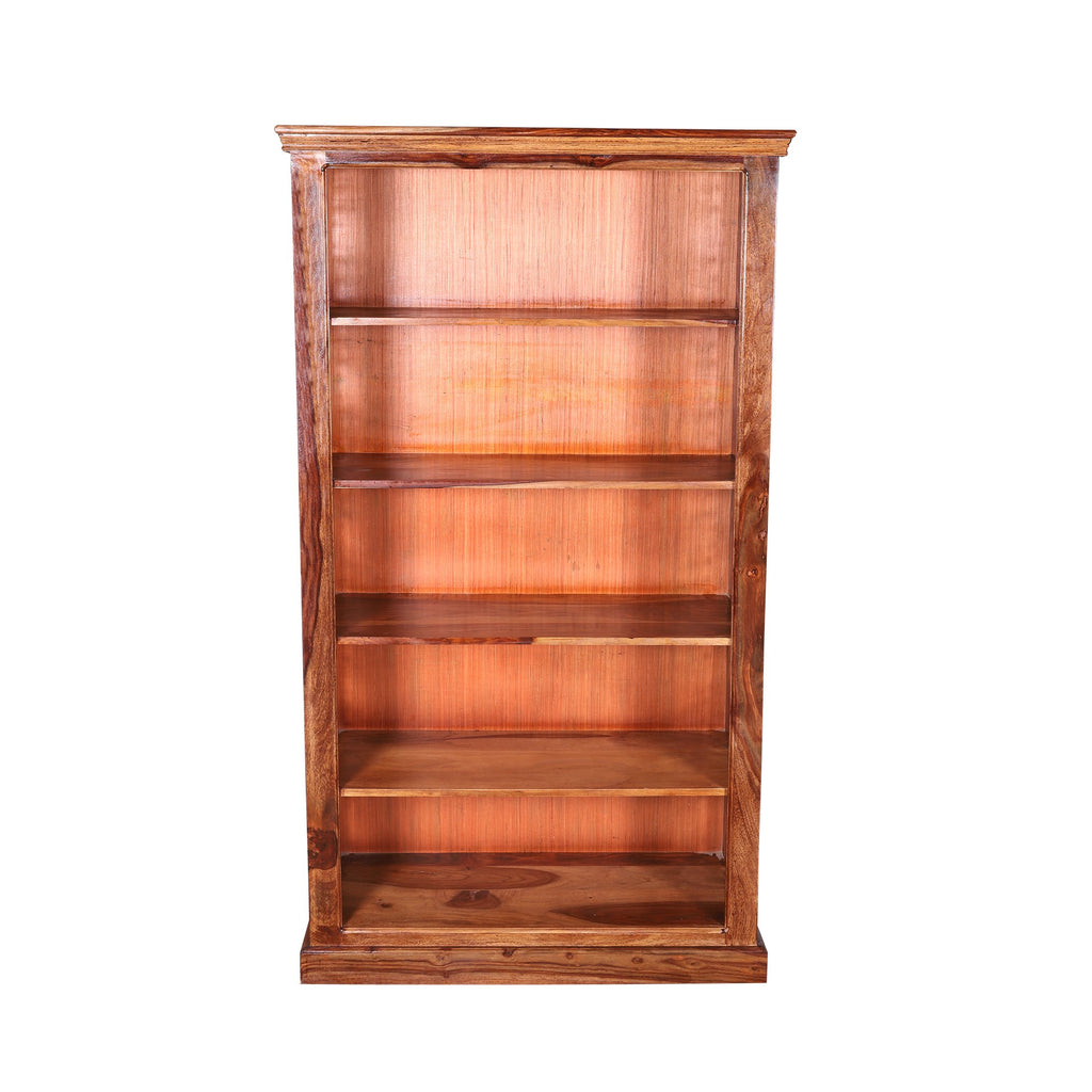 Solid Wood Book Case With Iron Jali in Natural Finish - Woodcrony