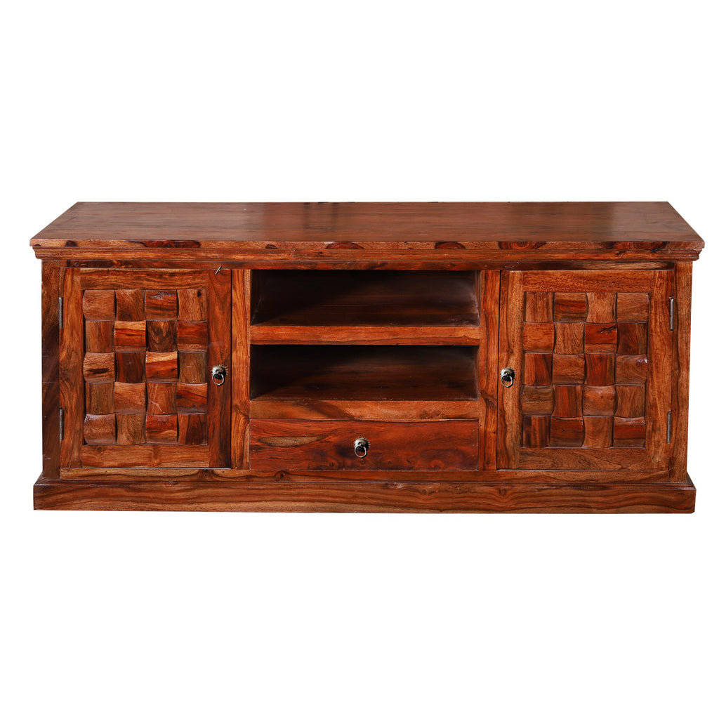 Xiomara Solid Wood Two Door Two Salf TV Unit - Woodcrony