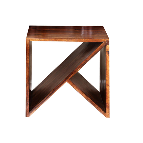 Lasse Wooden cross Side Table in Honey finish
