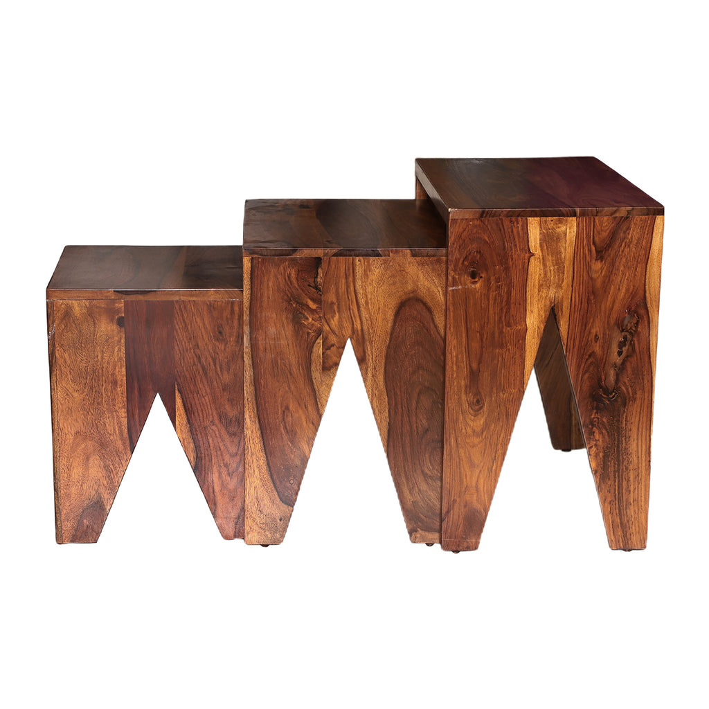 Hadleigh Solid Wood 3 Pieces Nest of Tables in Natural