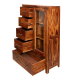 Konto Wooden Display Side board cabinet in Natural Finish