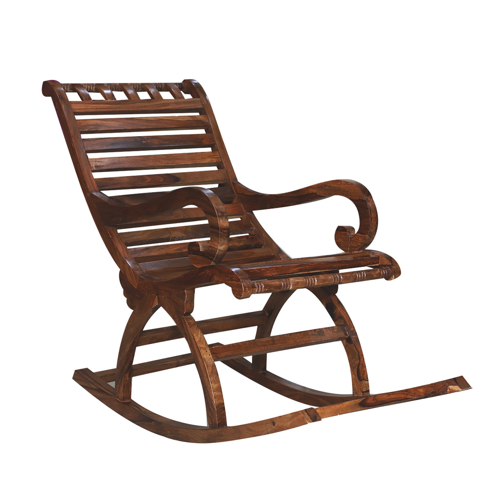 Marc Wooden Rocking Chair with Stripes in Natural Finish
