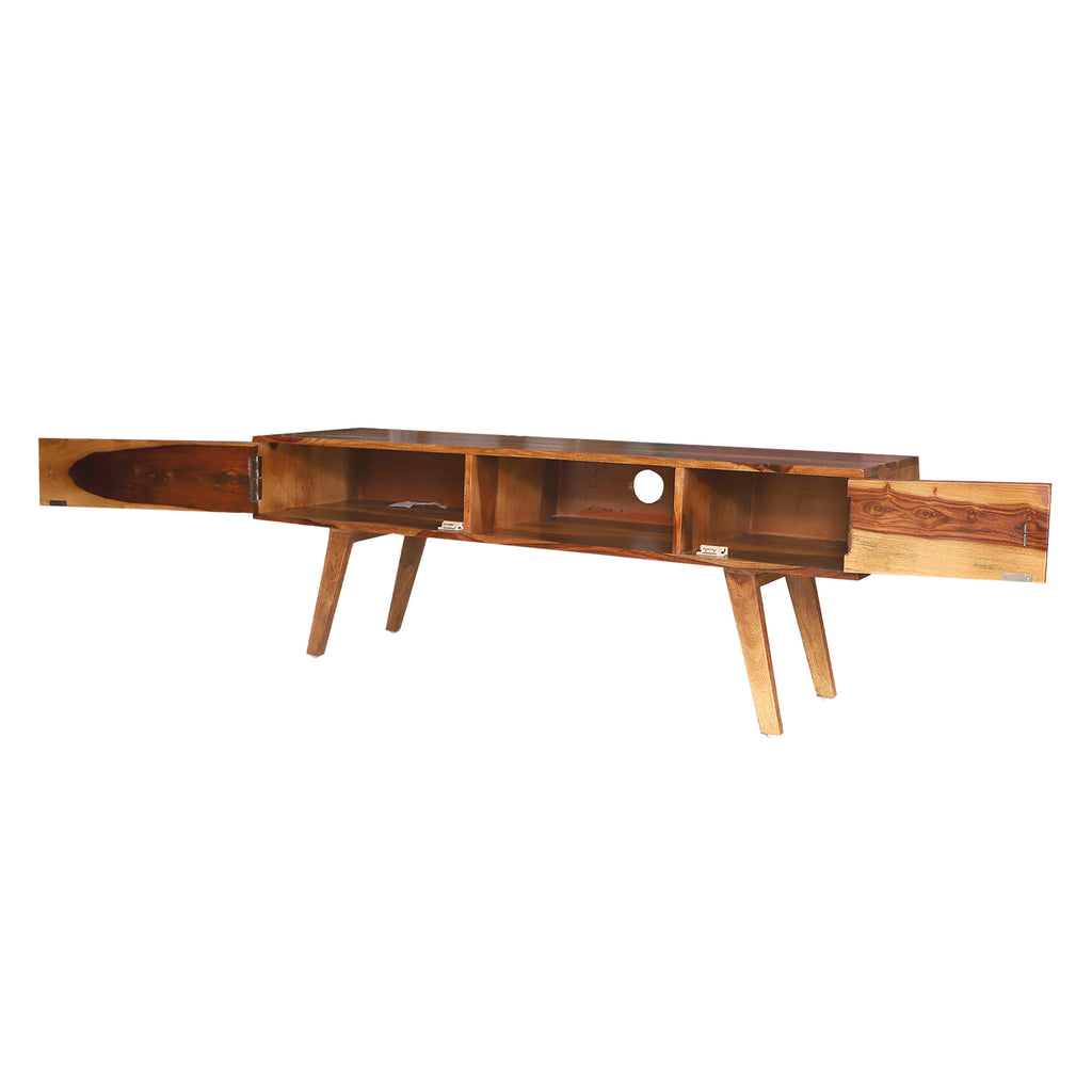 "Lekedi 57"" Solid Wood Open Shelf with Two Palla TV Unit"