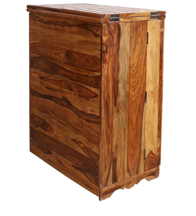 Reidville Solid Wood Two Door Plain Bar Cabinet in Honey Oak Finished by Woodcrony