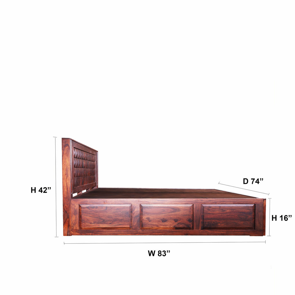 Allotrope Solid Wood King Size Double Bed With Front and Top Storage - Woodcrony