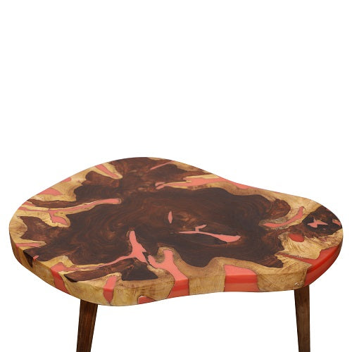 Lucas Coffee Table in Sheesham with Red Top