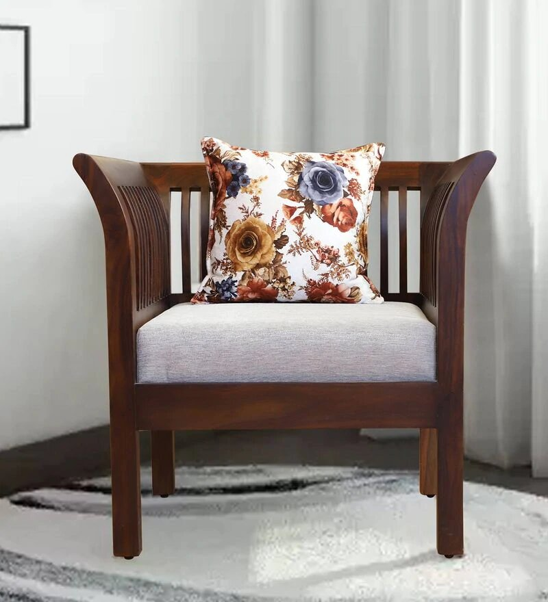 Comely Solid Wood Single Seater Sofa in Wallnut Finished by Woodcrony