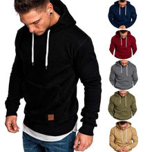 Load image into Gallery viewer, Loose Plain Lace Up Pullover Men's Hoodie with Pocket
