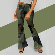 Load image into Gallery viewer, Camouflage Print Hole Flared Pants