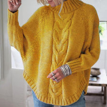 Load image into Gallery viewer, High Neck Cable Knit Rounded Hem Sweater