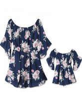 Load image into Gallery viewer, Floral Off Shoulder Mommy And Me Matching Dresses