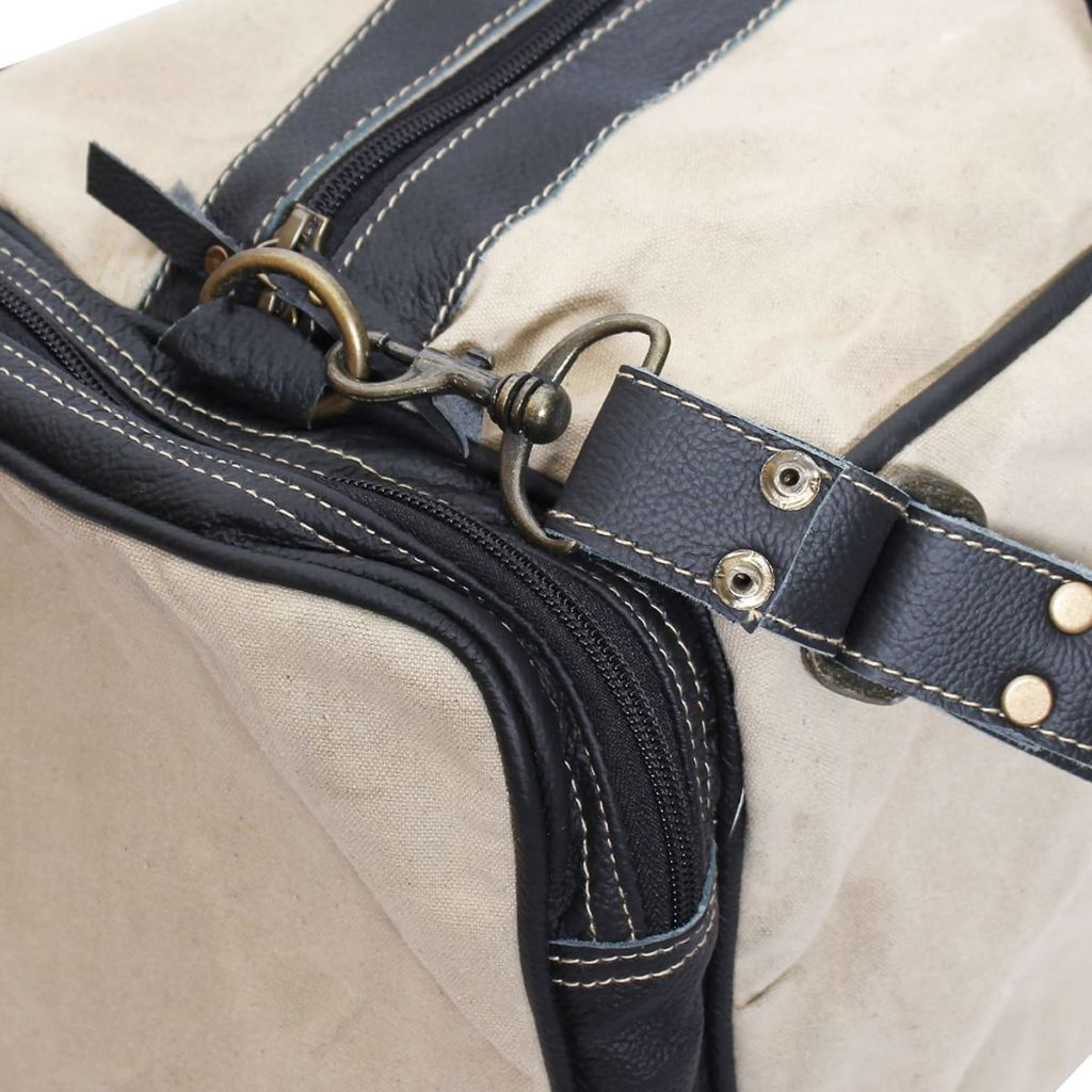 Litedpot Weekend Bag Canvas and Real Leather Beige