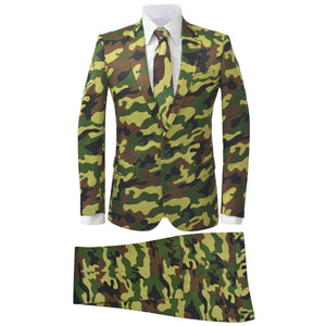 Litedpot Men's Two Piece Suit with Tie Camouflage Print Size 50