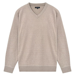 Litedpot Men's Pullover Sweater V-Neck Beige L