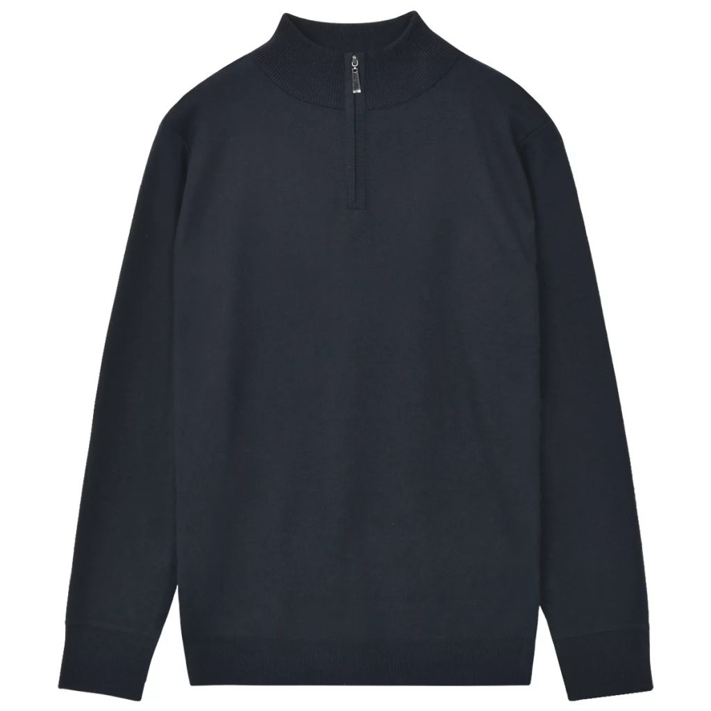 Litedpot Men's Zip Pullover Sweater Navy M