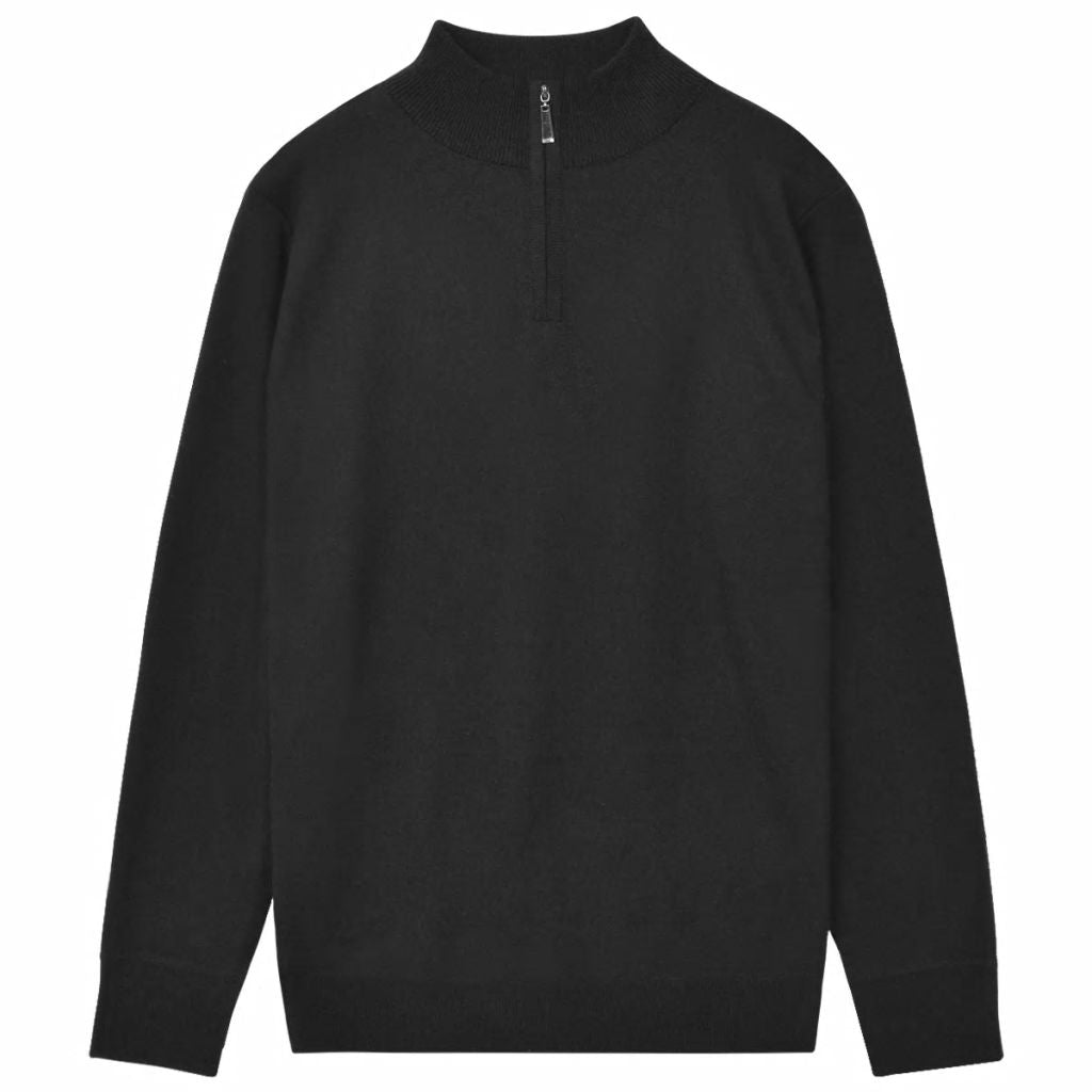 Litedpot Men's Zip Pullover Sweater Black L