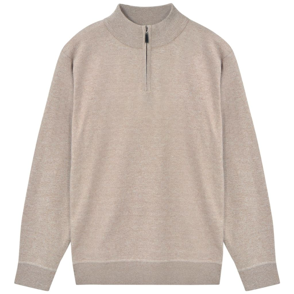 Litedpot Men's Zip Pullover Sweater Beige M