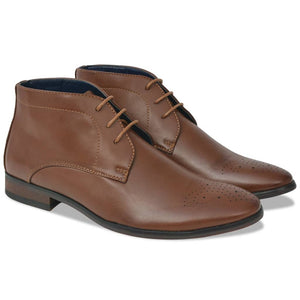 Litedpot Men's Lace-Up Ankle Boots Brown Size 7.5 PU Leather