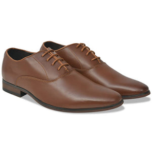 Litedpot Men's Business Shoes Lace-Up Brown Size 10.5 PU Leather