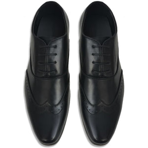 Litedpot Men's Lace-Up Brogues Black Size 6.5 PU Leather