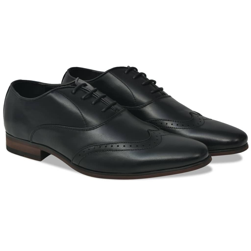 Litedpot Men's Lace-Up Brogues Black Size 9.5 PU Leather