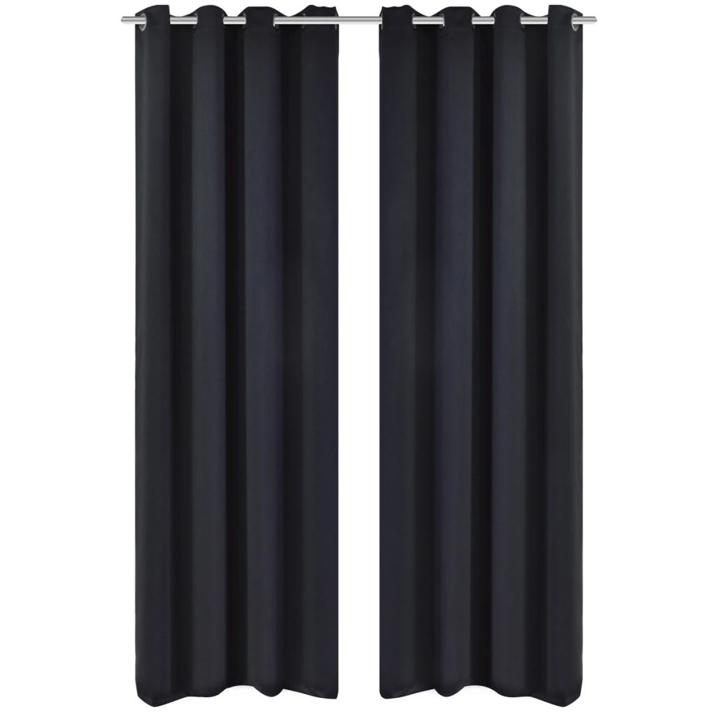 Litedpot Blackout Curtain with Metal Eyelets 270x245 cm Black