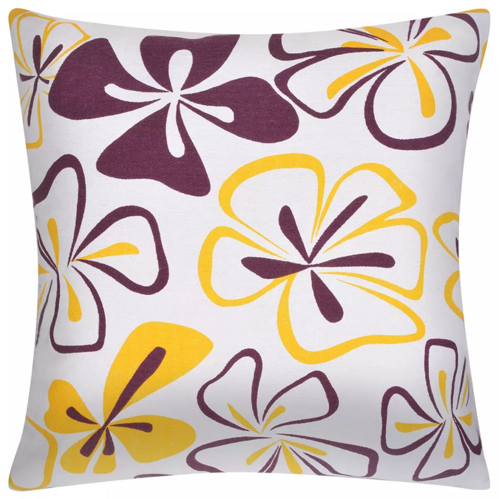 Litedpot Pillow Covers 2 pcs Canvas Flower Printed 80x80 cm