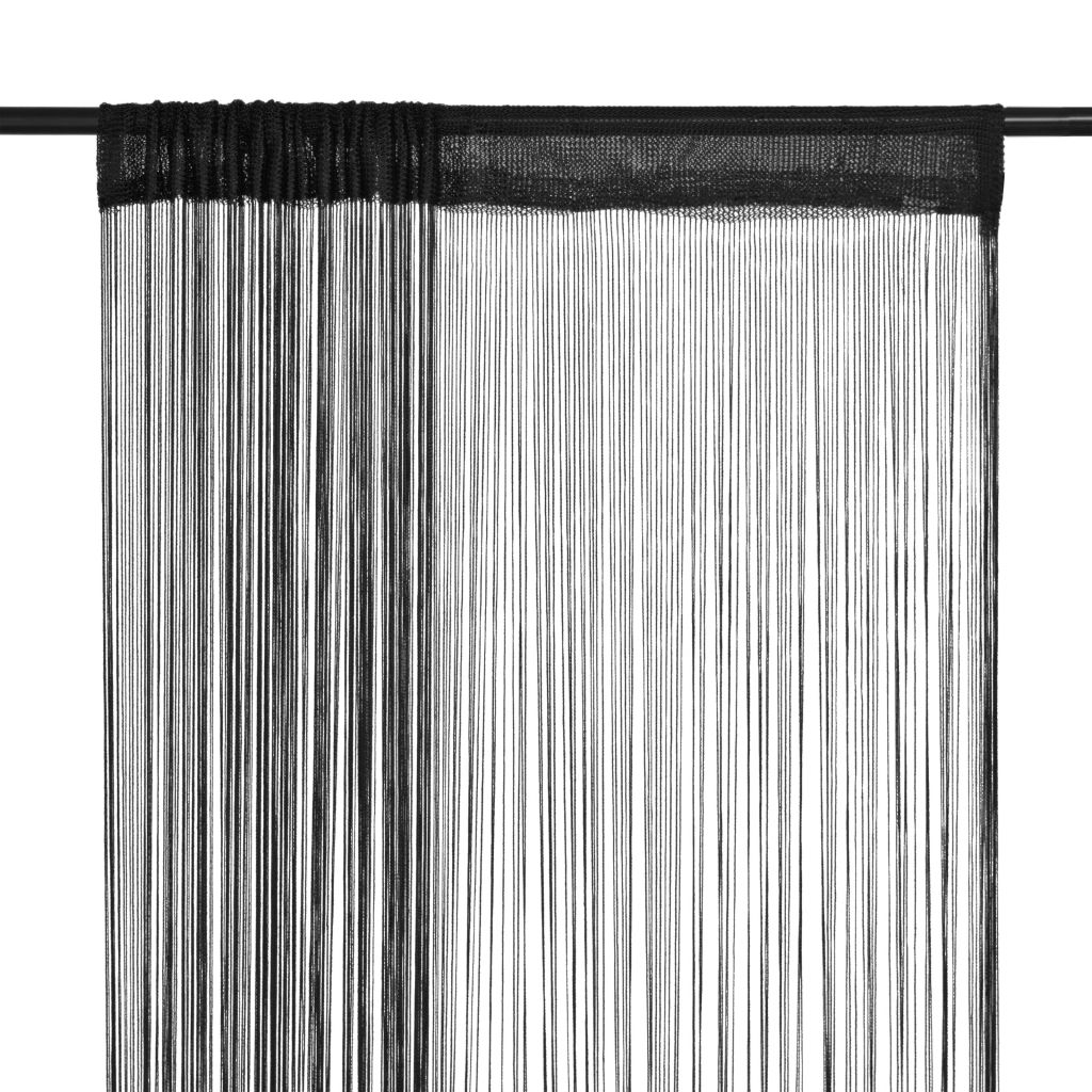 Litedpot String Curtains 2 pcs 140x250 cm Black