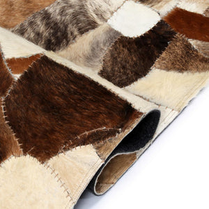 Litedpot Rug Genuine Leather Patchwork 80x150 cm Random Brown/White