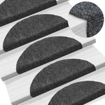 Litedpot 15pcs Self-adhesive Stair Mats Needle Punch 54x16x4cm Dark Grey