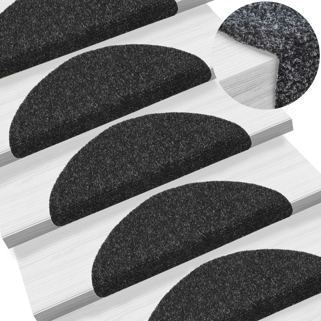 Litedpot 15 pcs Self-adhesive Stair Mats Needle Punch 54x16x4 cm Black