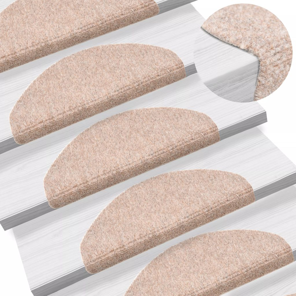 Litedpot 15 pcs Self-adhesive Stair Mats Needle Punch 65x21x4 cm Brown