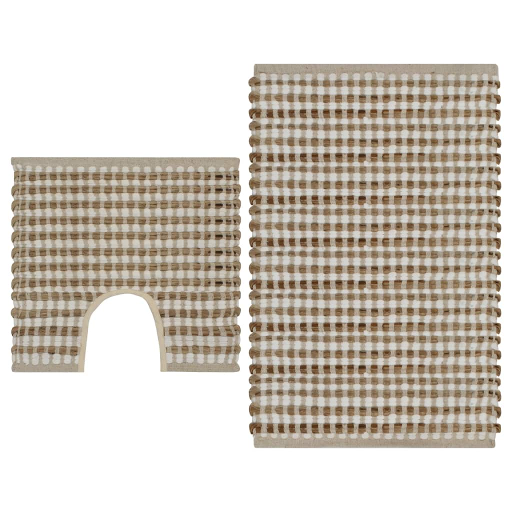 Litedpot Hand-Woven Jute Bathroom Mat Set Fabric Natural and White