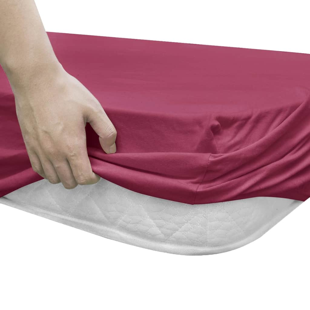 Litedpot Fitted Sheets for Waterbeds 2pcs 2x2m Cotton Jersey Burgundy