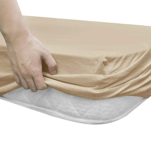 Litedpot Fitted Sheets for Waterbeds 2pcs 180x200 cm Cotton Jersey Beige