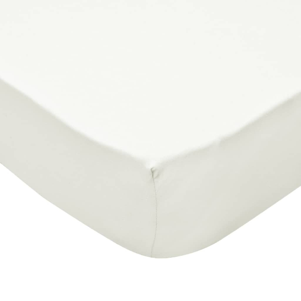 Litedpot Fitted Sheets 2 pcs 120x200 cm Cotton Jersey Offwhite