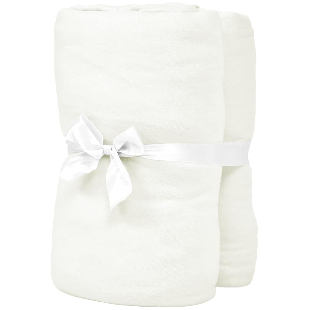 Litedpot Fitted Sheets 2 pcs 190x200 cm Cotton Jersey Offwhite