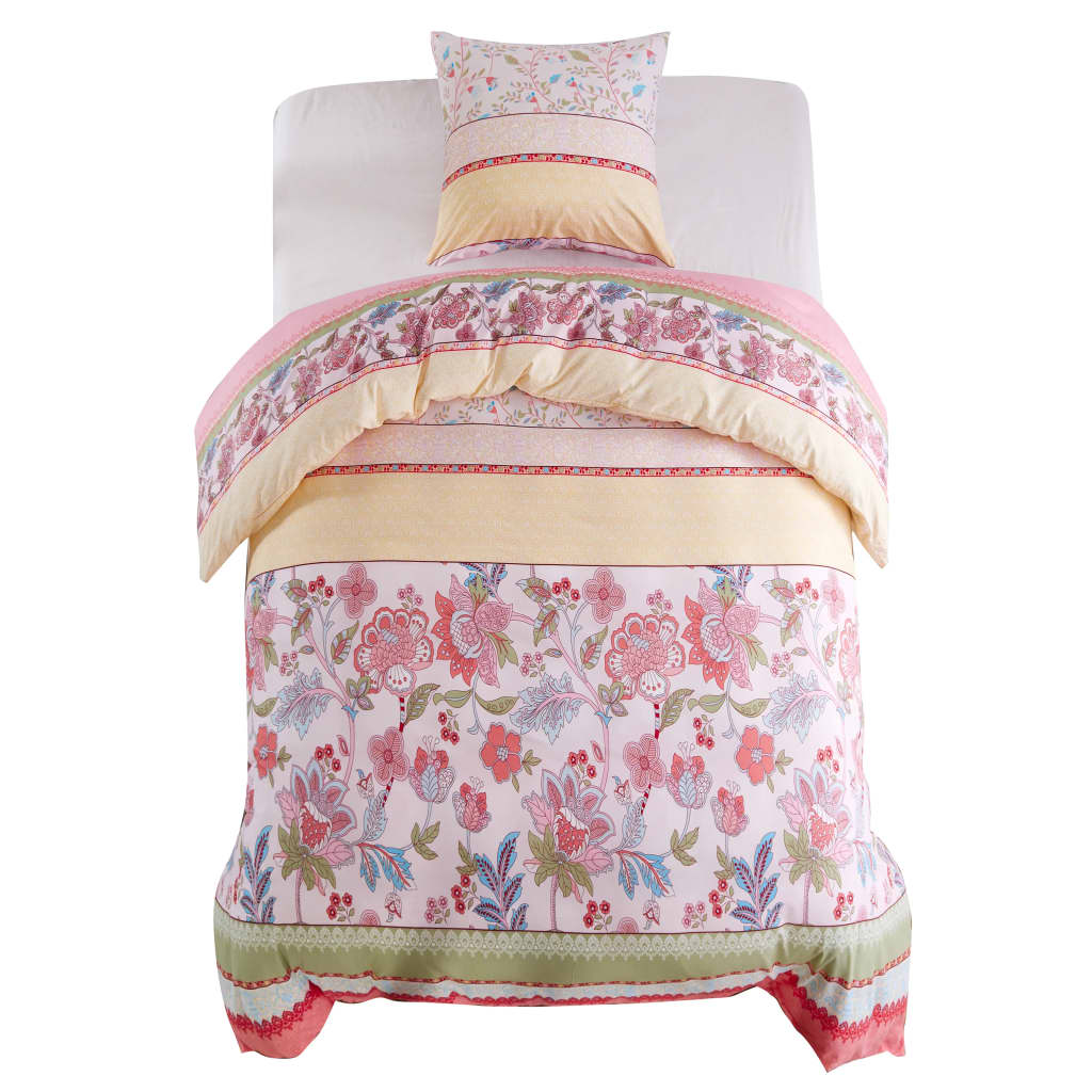 Litedpot Duvet Cover Set Floral/Striped Pink 140x220/60x70 cm