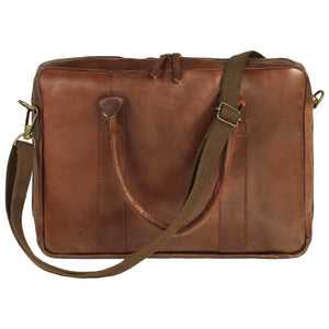Litedpot Zippered Laptop Bag Real Leather Brown