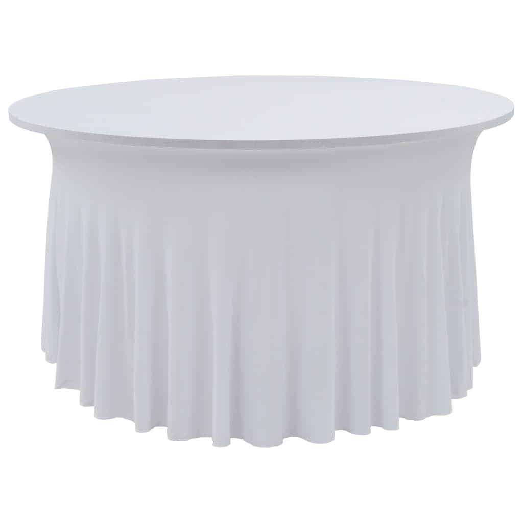 Litedpot 2 pcs Stretch Table Covers with Skirt 150x74 cm White