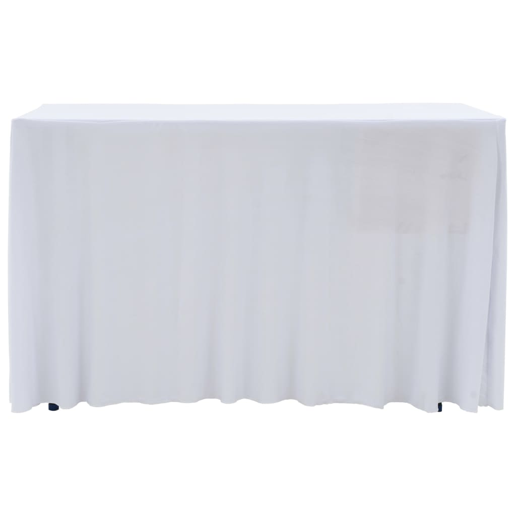 Litedpot 2 pcs Stretch Table Covers with Skirt 120x60,5x74 cm White