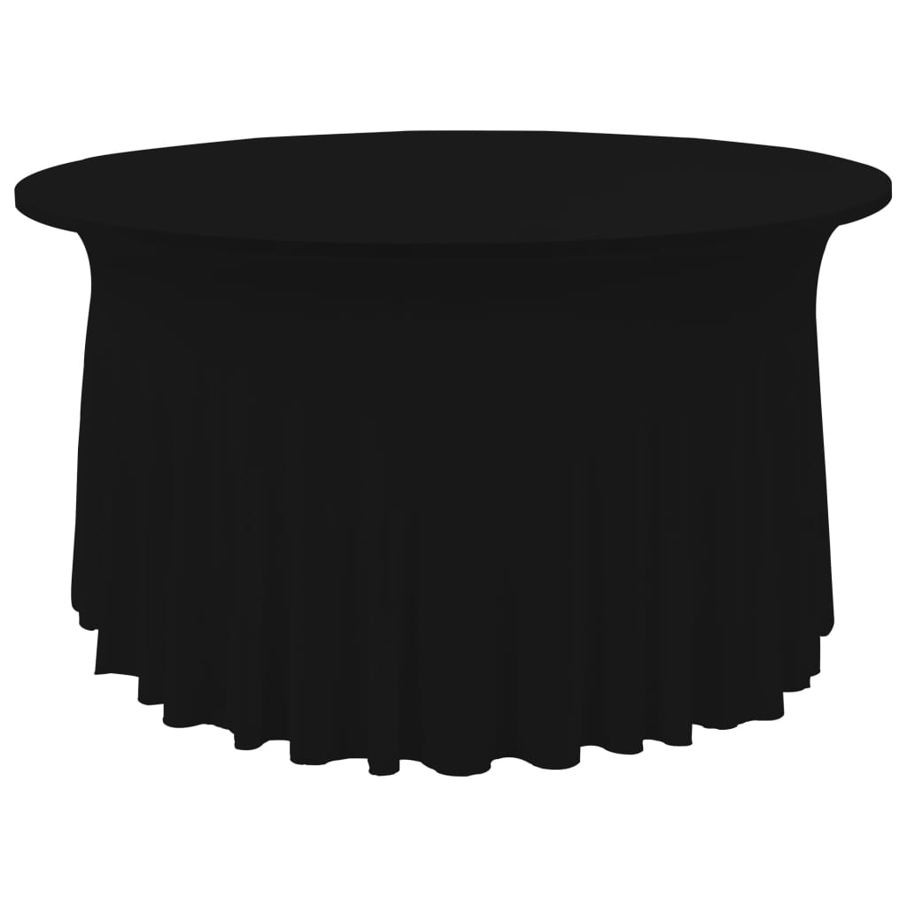 Litedpot 2 pcs Stretch Table Covers with Skirt 150x74 cm Black
