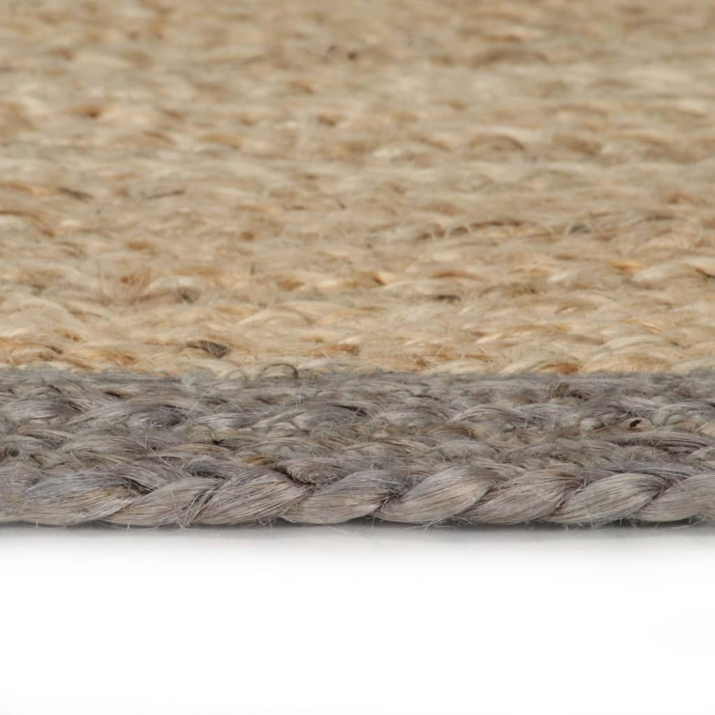 Litedpot Handmade Rug Jute with Grey Border 120 cm