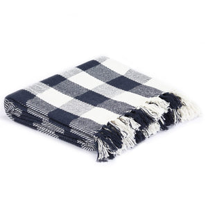 Litedpot Throw Cotton Check 160x210 cm Navy Blue