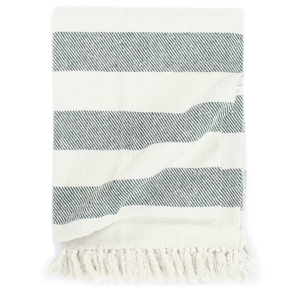 Litedpot Throw Cotton Stripe 160x210 cm Dark Green
