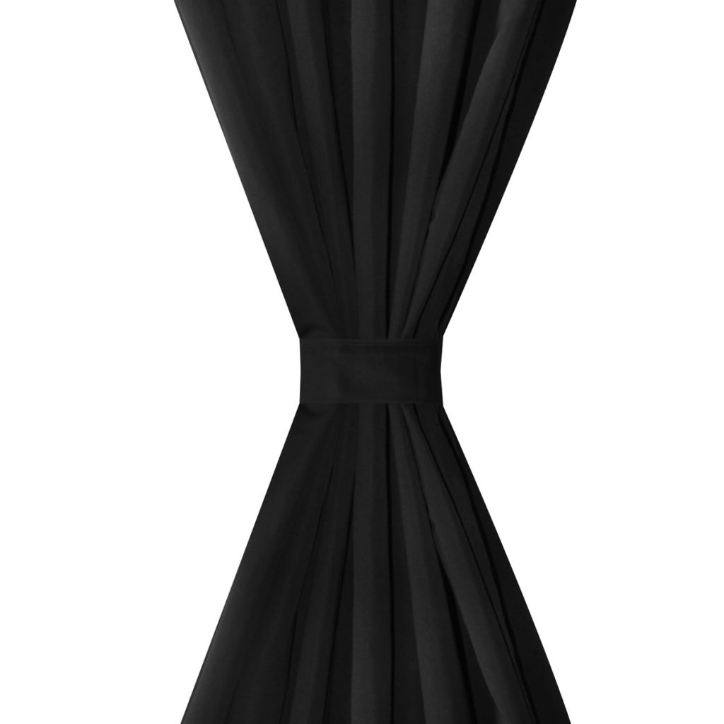 Litedpot 2 pcs Black Micro-Satin Curtains with Loops 140 x 225 cm