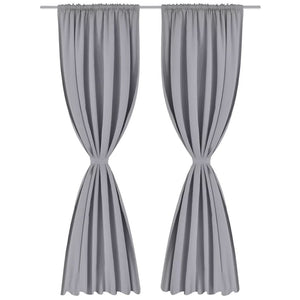 Litedpot 2 pcs Grey Slot-Headed Blackout Curtains 135 x 245 cm