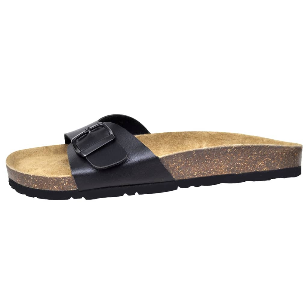 Litedpot Unisex Bio Cork Sandal with 1 Buckle Strap Size 7 Black