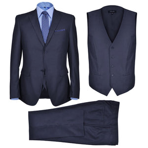 Litedpot Three Piece Men's Business Suit Size 52 Navy Blue