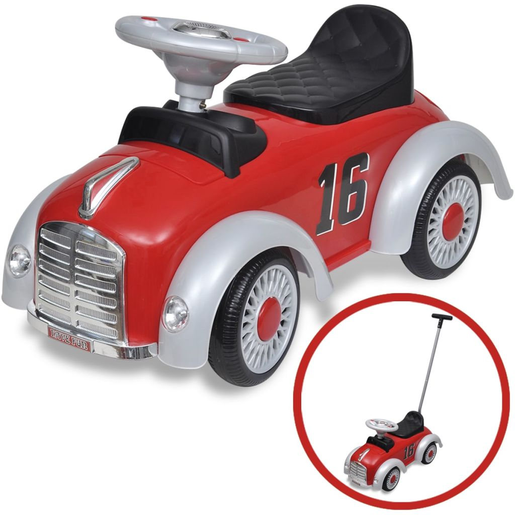 Litedpot Red Retro Children's Ride-on Car with Push bar